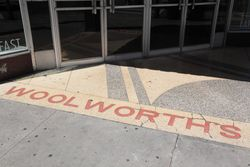 Surviving Woolworth's signage at the entrance to a Subway, Savannah, Georgia