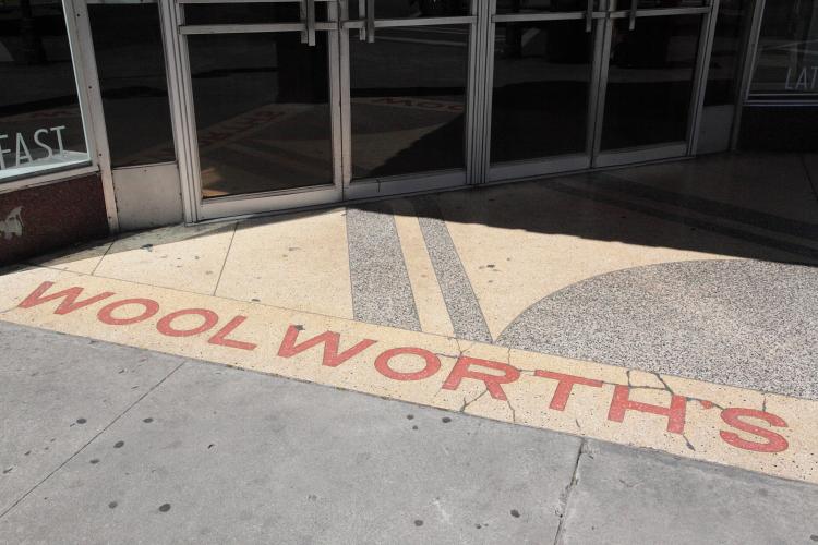 Surviving Woolworth's signage at the entrance to a Subway, Savannah, Georgia