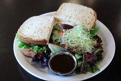 Black-eyed pea cake sandwich and side salad, B Matthews, Savannah, Georgia