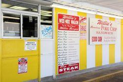 Serving window and menu, Willie's Wee-Nee Wagon, Brunswick, Georgia