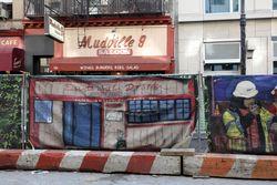 Mudville 9 mural on a construction barricade, Chambers Street, Manhattan