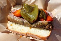 %22Drunken%22 sausage with confit tomatoes and roasted peppers, Txorizeria, Smorgasburg, Williamsburg, Brooklyn