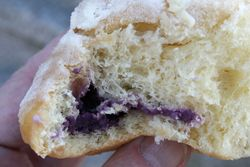 Ube ensaymada (biteaway view), Philippine Bread House, Jersey City