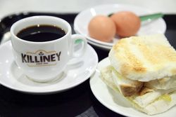 Coffee, half-boiled eggs, and kaya butter toast, Killiney Kopitiam, Changi Airport, Singapore