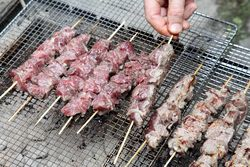 Grilling shish kebab, Holy Cross Church of Armenia food fair, West 187th Street, Manhattan