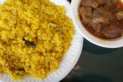 Bhuna khichuri and beef curry, Aladdin Sweets & Restaurant, Astoria, Queens
