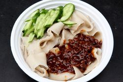 Belt noodles with pork sauce, Auntie Wang's cart, Broadway, Manhattan
