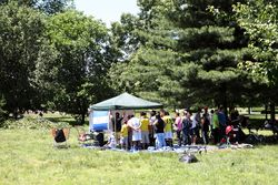 Honduran-flagged World Cup viewing tent and snack bar, Flushing Meadows Corona Park, Queens