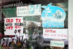 %22Cold TX water melon%22 in English and Korean, Murray Hill, Queens