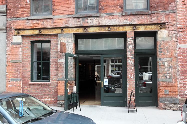 Surviving fish-dealer signage outside Barbalu, Front Street, Manhattan