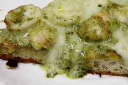 Deep-dish pizza with shrimp, calamari, and creamy pesto sauce (detail), Lo Duca Pizza, Ditmas Park, Brooklyn