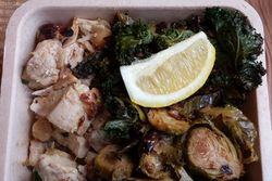 Chicken, kale, and brussels sprouts, Dig Inn, Broadway, Manhattan