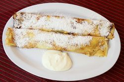 Cheese blintzes, Polish & Slavic Center Cafeteria, Greenpoint, Brooklyn