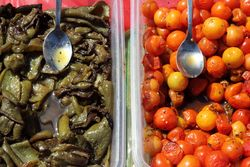 Roasted peppers and confit tomatoes, Txorizeria, Smorgasburg, Williamsburg, Brooklyn