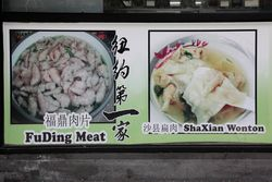 Picture menu (detail of Fuding meat and Shaxian wonton), Min Jiang Mini Cafe, Eldridge Street, Manhattan