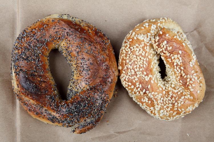 Poppy and sesame bagels, Black Seed, Elizabeth Street, Manhattan