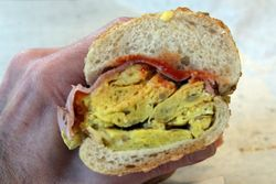 Potato-and-egg hero, with Virginia ham, at DeFonte's, Third Avenue, New York