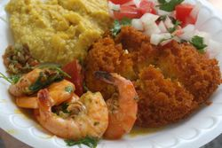 Shrimp, acaraje, and vatapa, Comida Divina, International African Arts Festival, Commodore Barry Park, Brooklyn