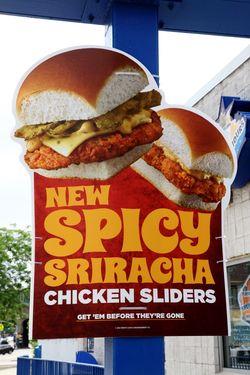 Sign for sriracha chicken sliders, Wendy's, Borough Park, Brooklyn