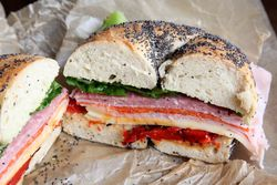 %22The Sinatra%22 bagel sandwich, Brooklyn Bagel & Coffee Company, Astoria, Queens