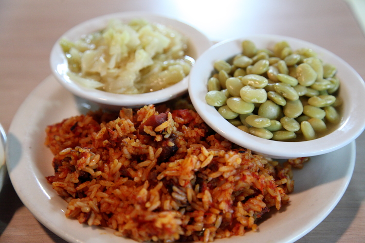 Cabbage, lima beans, and red rice, The Sisters of the New South, Savannah, Georgia
