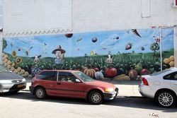 Mural of a farmer in his (fanciful) field, Williamsburg, Brooklyn