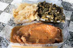 Cabbage, collards, and pork chops, Halsey Street Grill, Bedford-Stuyvesant, Brooklyn
