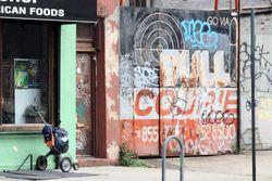 Mail carrier's pushcart, Bridge Coffee Shop, Vinegar Hill, Brooklyn
