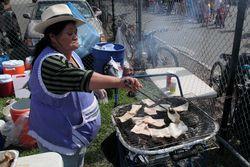 Grilling pork skin, Festival Ecuatoriano %22Musica y Folklore,%22 Flushing Meadows Corona Park, Queens
