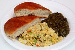 Codfish, a sliced bake, and callaloo, Grenada Day, East Flatbush, Brooklyn