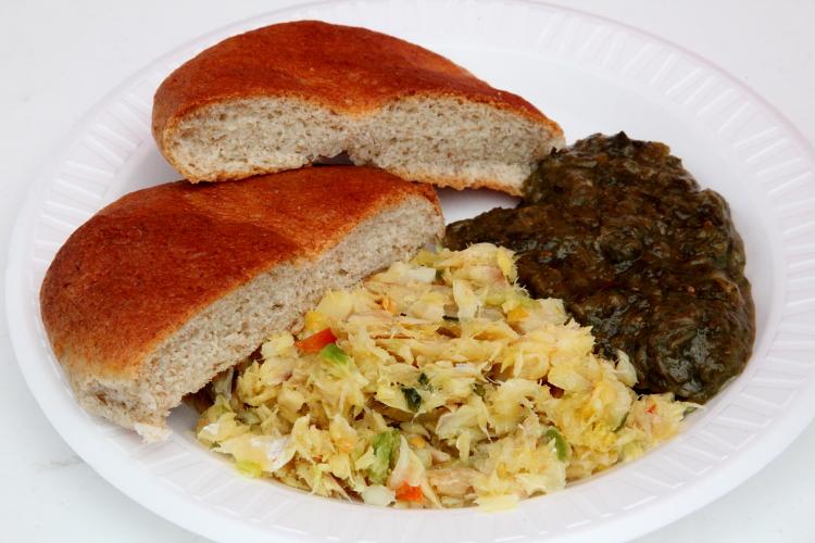 Codfish, a sliced bake, and callaloo, Grenada Day, East Flatbush, Brooklyn