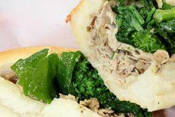 Roast pork sandwich with broccoli rabe and provolone, Tommy DiNic's, Reading Terminal Market, Philadelphia