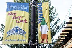 %22Drink,%22 Kingsbridge Shopping District banner, Kingsbridge, Bronx