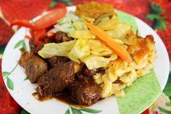 Stewed pork with macaroni pie, West Cuisine, East Flatbush, Brooklyn