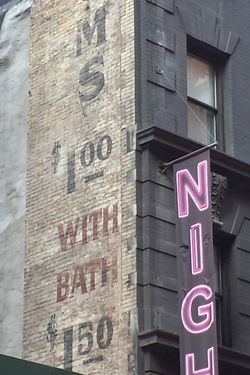 Room rates, surviving signage for the former Hotel Longacre, West 47th Street, Manhattan