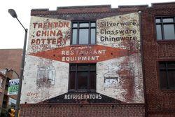 The Pottery Building apartments, surviving signage, Philadelphia