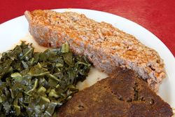 Meatloaf, stuffing, and collard greens, United House of Prayer for All People, Frederick Douglass Boulevard, Manhattan