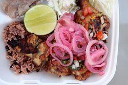 Chicken platter, Baliada Express, Central American festival, Crotona Park, Bronx