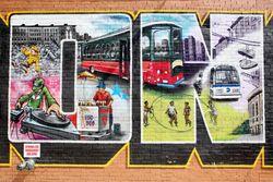 I [heart] The Bronx mural (detail including piraguas vendor), Foxhurst, Bronx