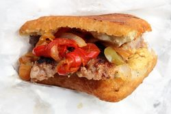 Italian knish with sausage, peppers, and onions, D'Angelos Italian Sausage, Viva La Comida festival, Elmhurst, Queens
