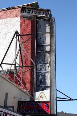 Mi Lindo Ecuador, newer signage on old framework (flip side), Newark, New Jersey