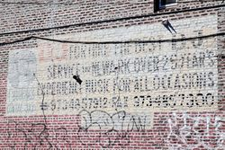 %22DJ for hire,%22 surviving signage, Newark, New Jersey