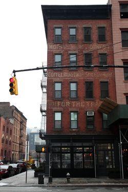 Morrison & Boinest, coffee and tea merchants, surviving signage, Greenwich Street, Manhattan