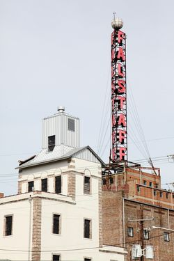 Falstaff Apartments, surviving brewery signage, New Orleans