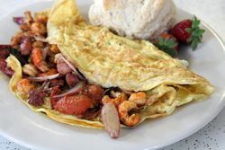 Crawfish and andouille omelette, New Orleans Cake Cafe & Bakery, New Orleans