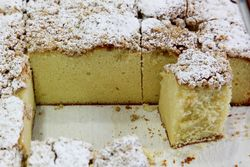 Crumb-topped sponge cake, Astoria Bakery, Our Lady of Mount Carmel Rosary Society Bake Sale, Astoria, Queens