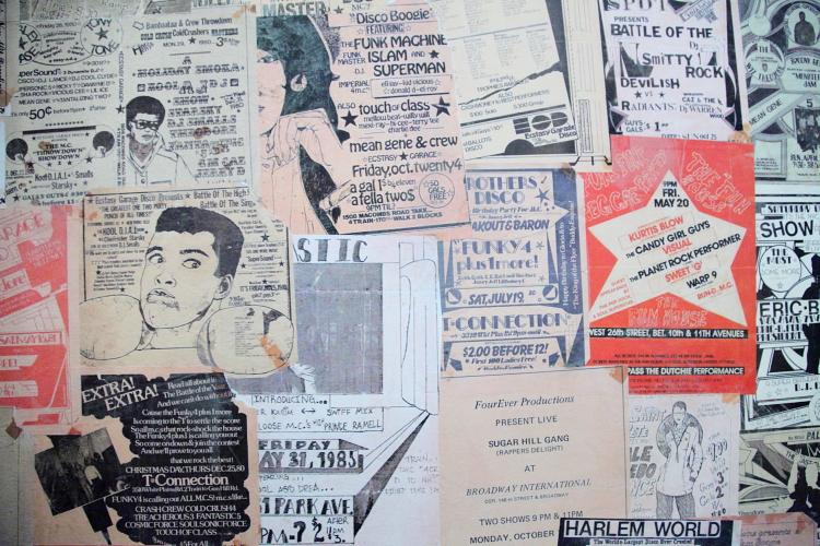 Music-show flyers, Streetbird Rotisserie, Frederick Douglass Boulevard, Manhattan
