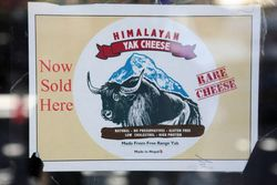 Sign for Nepali cheese made from free-range yak, Chautari Restaurant, Jackson Heights, Queens