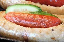 Taiwanese hot dog, Red Bowl Noodle Shop, Flushing, Queens
