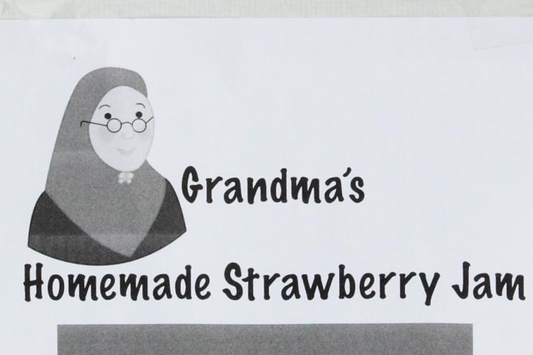 Flyer (detail) for Grandma's homemade strawberry jam, TCCNJ Spring Festival, Leonia, New Jersey
